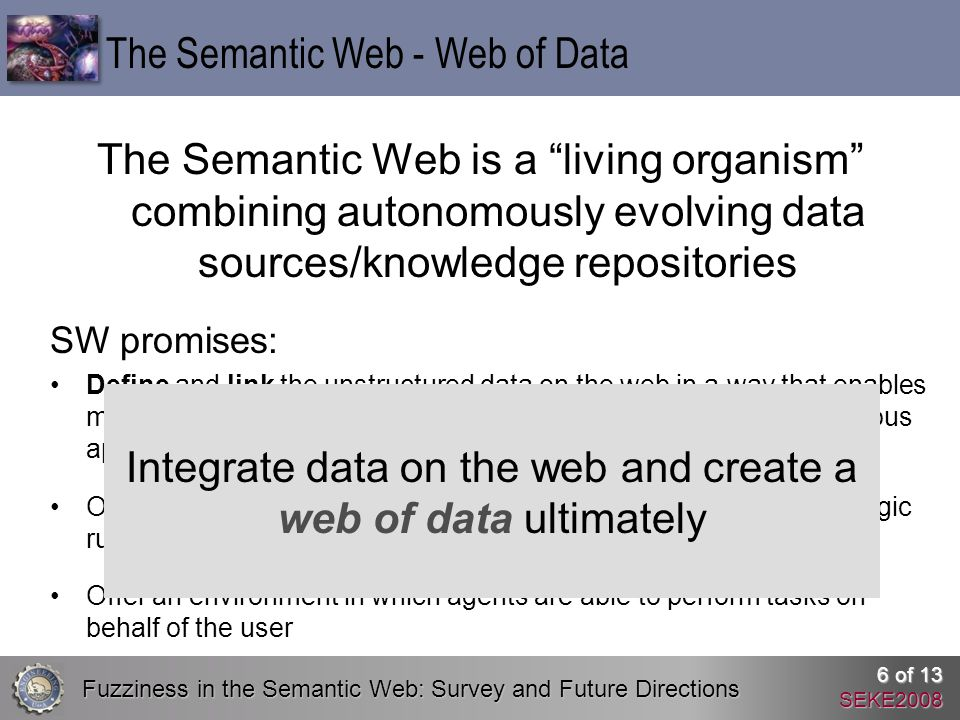 Fuzziness in the Semantic Web: Survey and Future Directions 6 of 13 SEKE2008 The Semantic Web is a living organism combining autonomously evolving data sources/knowledge repositories The Semantic Web - Web of Data SW promises: Define and link the unstructured data on the web in a way that enables machines for automation, integration and reuse of data across various applications Offer developers a framework to make intelligent decisions using logic rules Offer an environment in which agents are able to perform tasks on behalf of the user Integrate data on the web and create a web of data ultimately