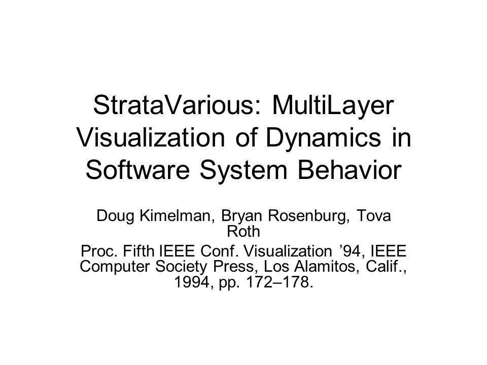 StrataVarious: MultiLayer Visualization of Dynamics in Software System Behavior Doug Kimelman, Bryan Rosenburg, Tova Roth Proc.