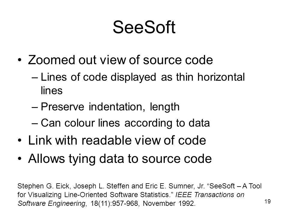 19 SeeSoft Zoomed out view of source code –Lines of code displayed as thin horizontal lines –Preserve indentation, length –Can colour lines according
