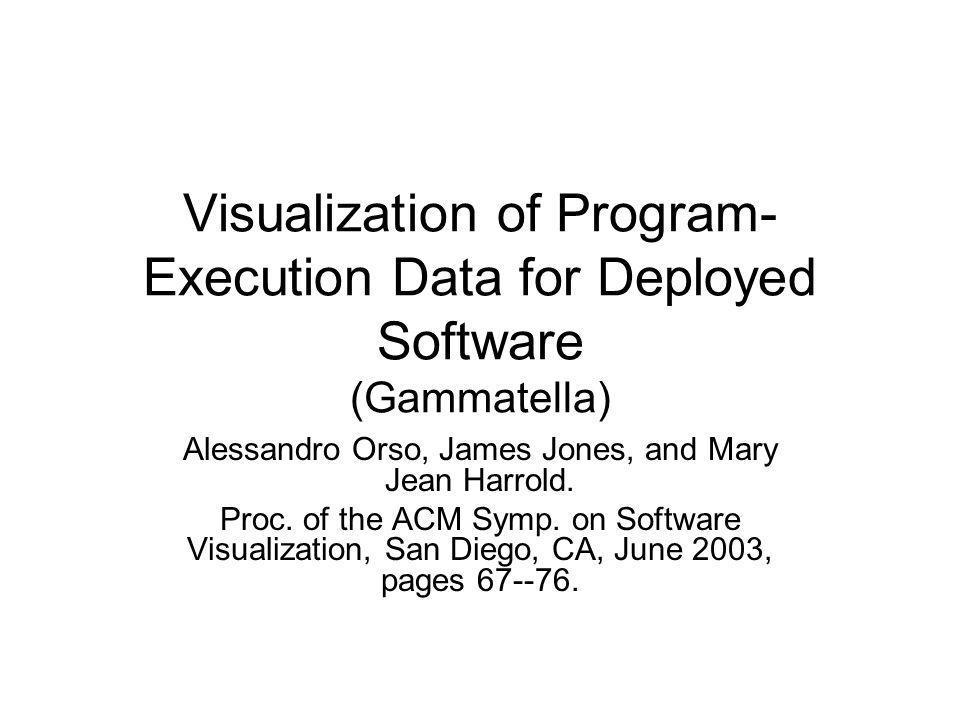 Visualization of Program- Execution Data for Deployed Software (Gammatella) Alessandro Orso, James Jones, and Mary Jean Harrold.