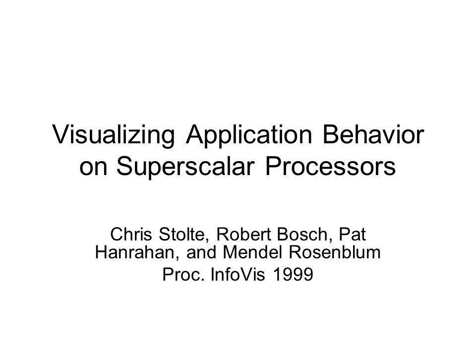 Visualizing Application Behavior on Superscalar Processors Chris Stolte, Robert Bosch, Pat Hanrahan, and Mendel Rosenblum Proc.