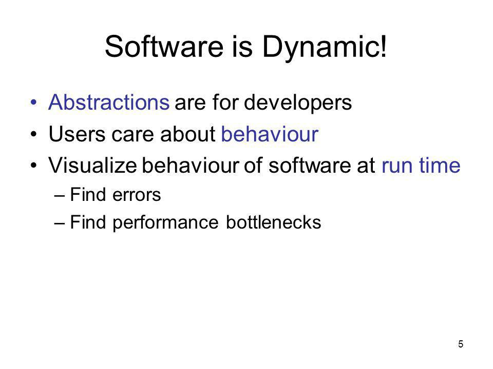 5 Software is Dynamic! Abstractions are for developers Users care about behaviour Visualize behaviour of software at run time –Find errors –Find perfo