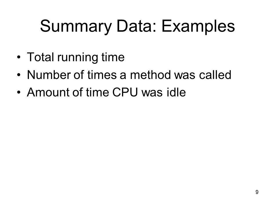 9 Summary Data: Examples Total running time Number of times a method was called Amount of time CPU was idle