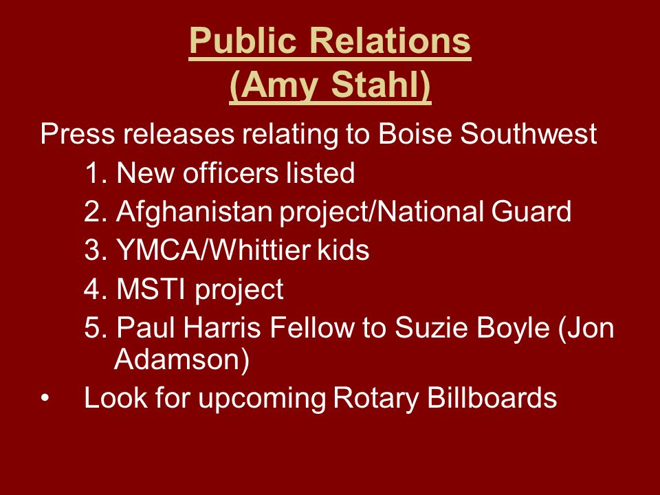 Public Relations (Amy Stahl) Press releases relating to Boise Southwest 1.