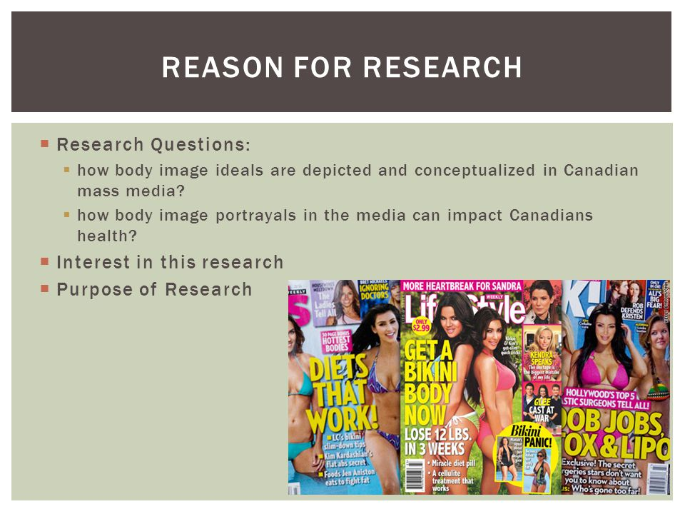  Research Questions:  how body image ideals are depicted and conceptualized in Canadian mass media.