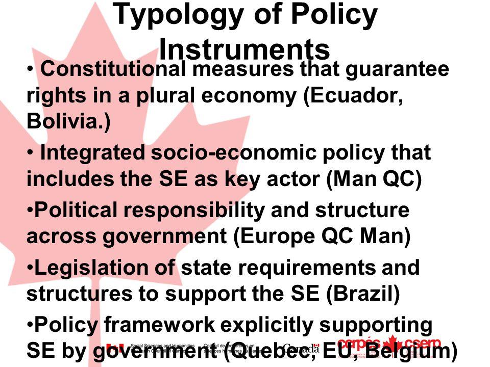 Typology of Policy Instruments Constitutional measures that guarantee rights in a plural economy (Ecuador, Bolivia.) Integrated socio-economic policy