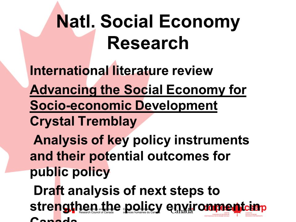 Natl. Social Economy Research International literature review Advancing the Social Economy for Socio-economic Development Crystal Tremblay Analysis of