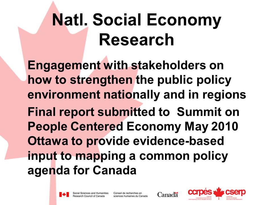 Natl. Social Economy Research Engagement with stakeholders on how to strengthen the public policy environment nationally and in regions Final report s