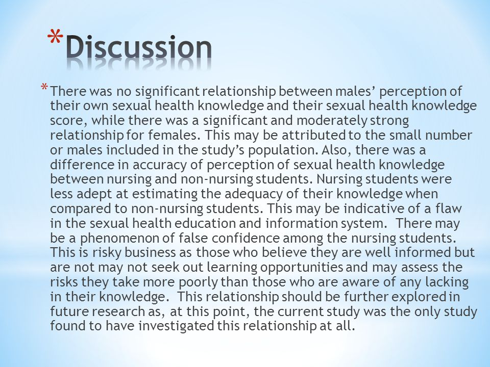 * There was no significant relationship between males' perception of their own sexual health knowledge and their sexual health knowledge score, while there was a significant and moderately strong relationship for females.