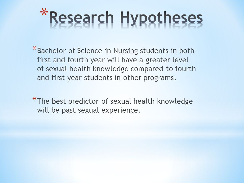 * Bachelor of Science in Nursing students in both first and fourth year will have a greater level of sexual health knowledge compared to fourth and first year students in other programs.