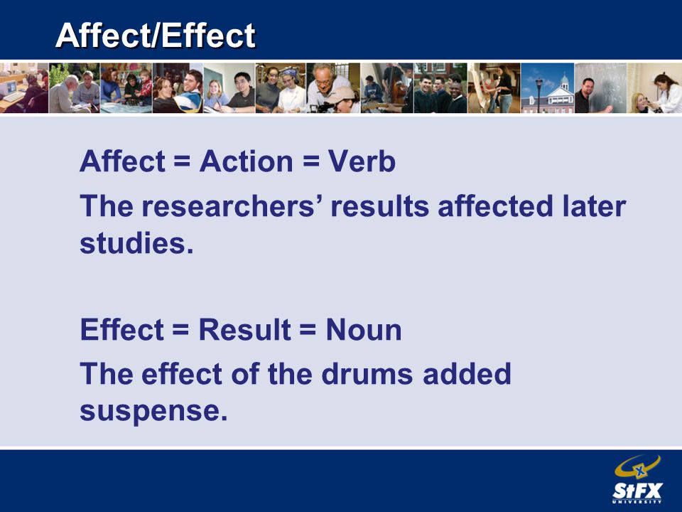 Affect/Effect Affect = Action = Verb The researchers' results affected later studies.