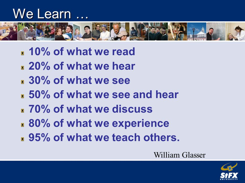 We Learn … 10% of what we read 20% of what we hear 30% of what we see 50% of what we see and hear 70% of what we discuss 80% of what we experience 95% of what we teach others.