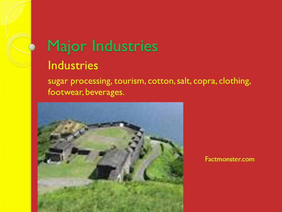 Major Industries Industries sugar processing, tourism, cotton, salt, copra, clothing, footwear, beverages.