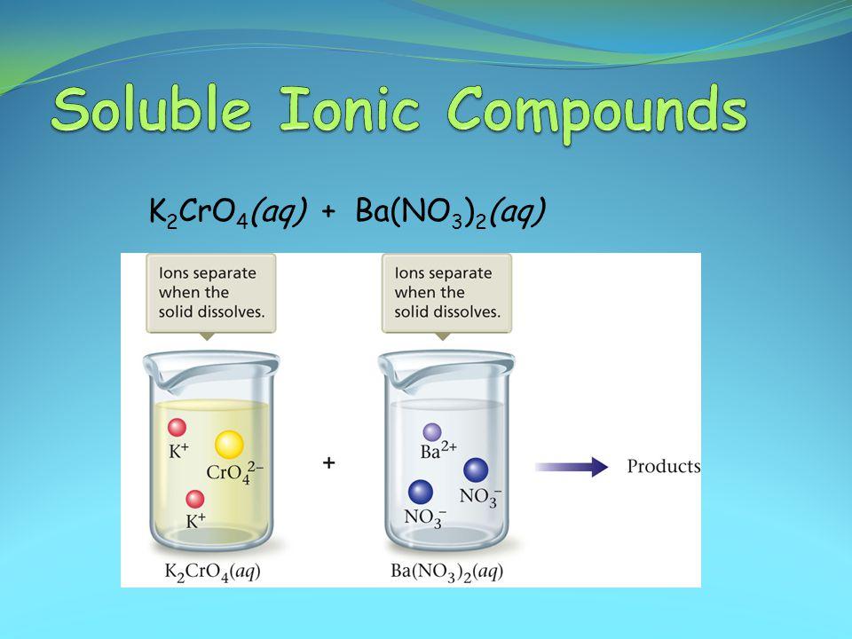 K 2 CrO 4 (aq) + Ba(NO 3 ) 2 (aq)