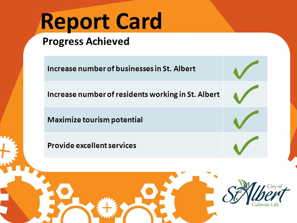 Report Card Progress Achieved Increase number of businesses in St. Albert Increase number of residents working in St. Albert Maximize tourism potentia