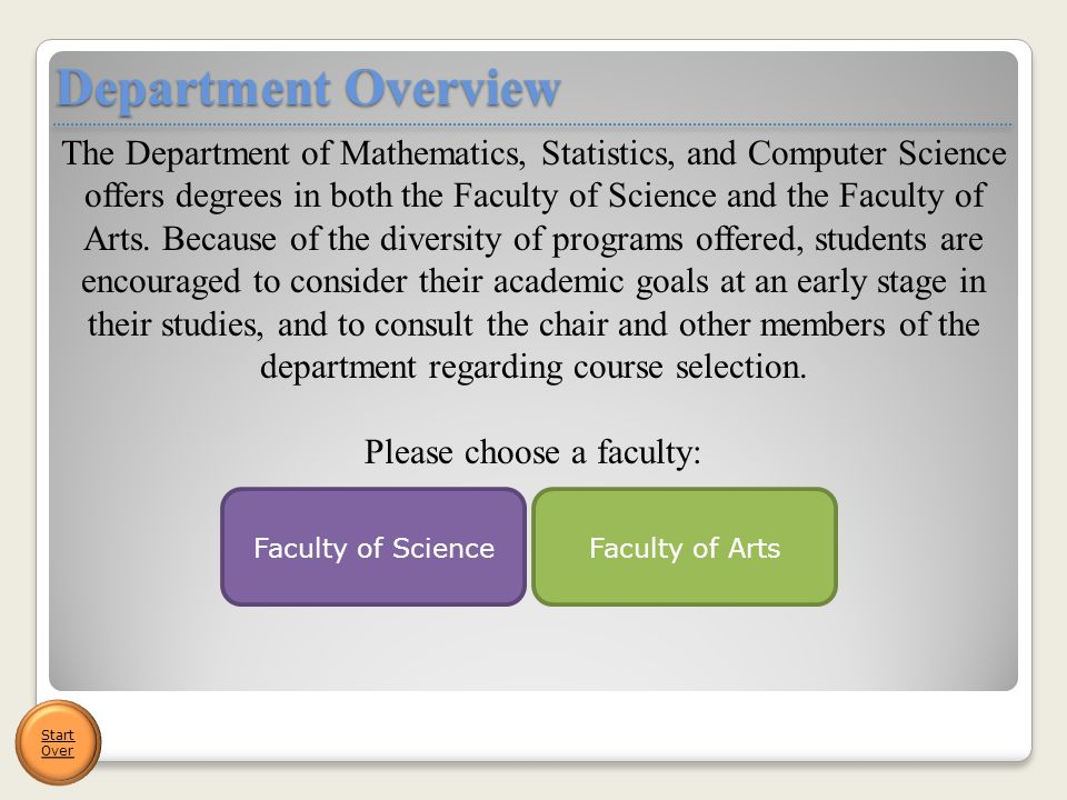 The Department of Mathematics, Statistics, and Computer Science offers degrees in both the Faculty of Science and the Faculty of Arts. Because of the