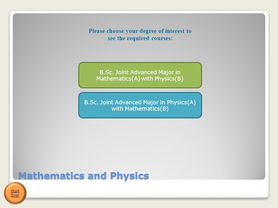 Mathematics and Physics Start Over B.Sc. Joint Advanced Major in Mathematics(A) with Physics(B) B.Sc. Joint Advanced Major in Physics(A) with Mathemat