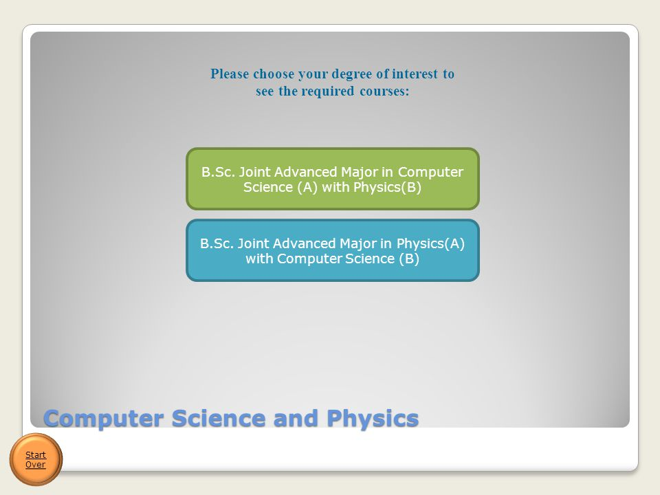 Computer Science and Physics Start Over B.Sc. Joint Advanced Major in Computer Science (A) with Physics(B) B.Sc. Joint Advanced Major in Physics(A) wi