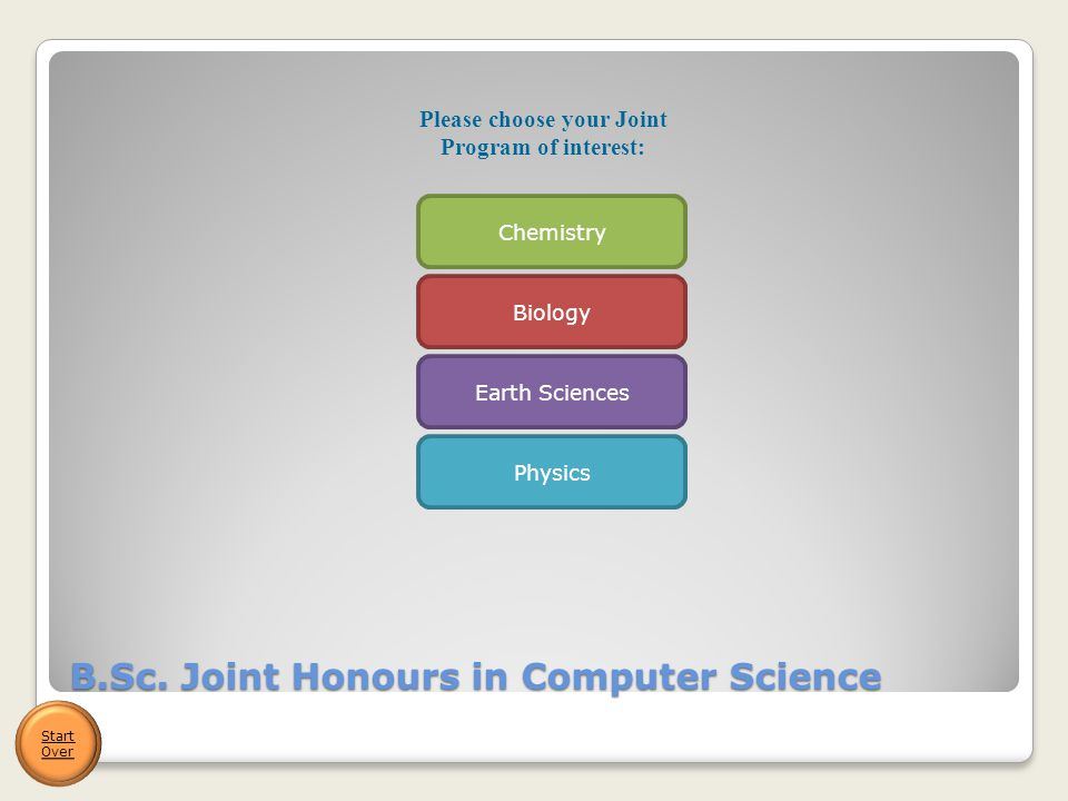 B.Sc. Joint Honours in Computer Science Start Over Please choose your Joint Program of interest: Biology Chemistry Earth Sciences Physics