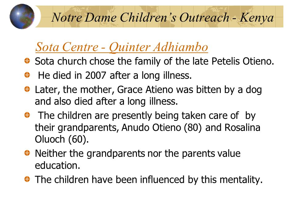 Sota Centre - Quinter Adhiambo Sota church chose the family of the late Petelis Otieno.