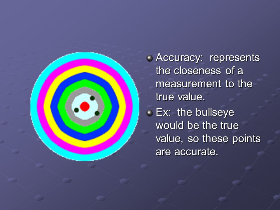 Accuracy: represents the closeness of a measurement to the true value. Ex: the bullseye would be the true value, so these points are accurate.