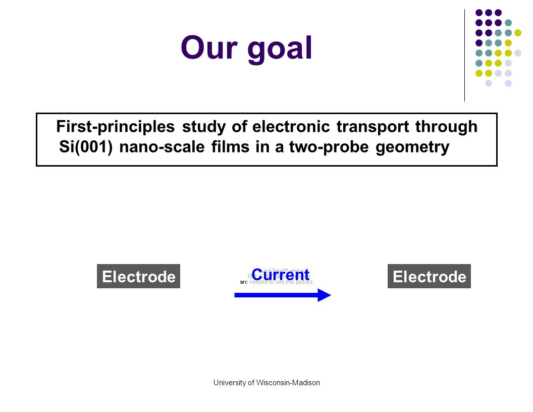 University of Wisconsin-Madison First-principles study of electronic transport through Si(001) nano-scale films in a two-probe geometry Our goal Length Thickness Surface Current Electrode Doping level (lead or channel) Orientation