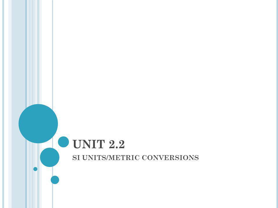 SI UNITS SI = International system of metric units.