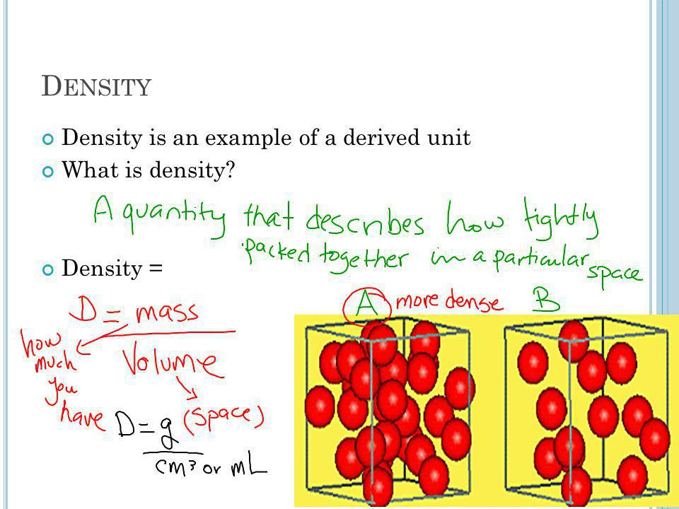 D ENSITY Density is an example of a derived unit What is density? Density =