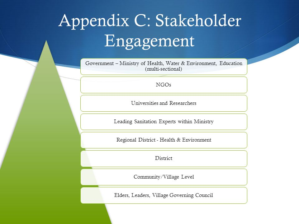 Appendix C: Stakeholder Engagement Government – Ministry of Health, Water & Environment, Education (multi-sectional) NGOsUniversities and ResearchersL