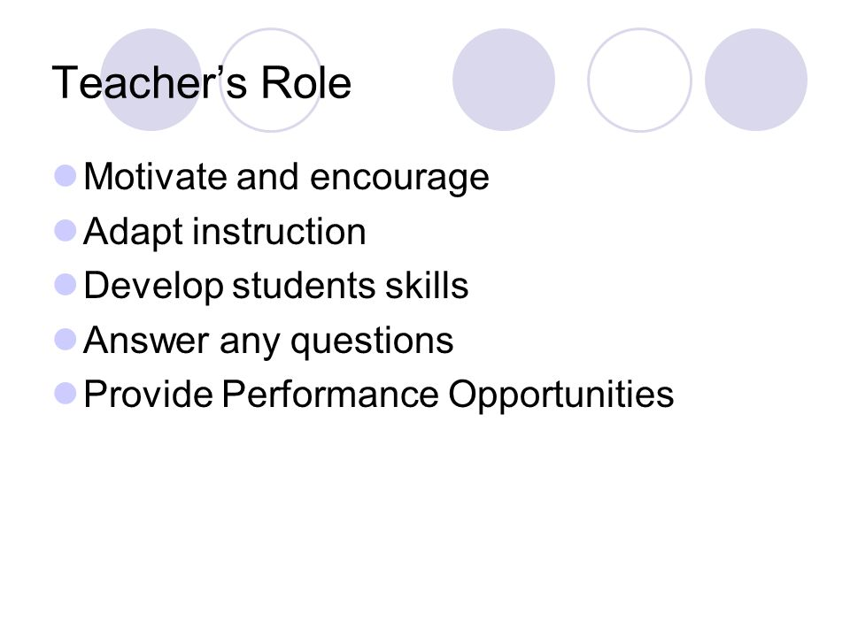 Teacher's Role Motivate and encourage Adapt instruction Develop students skills Answer any questions Provide Performance Opportunities