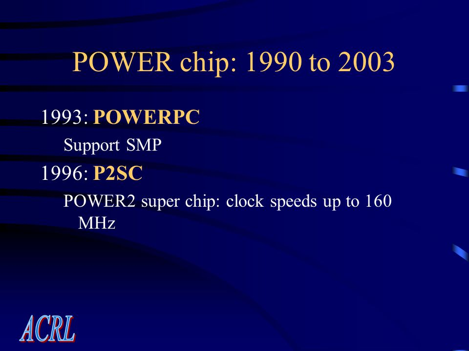 POWER chip: 1990 to 2003 1993: POWERPC Support SMP 1996: P2SC POWER2 super chip: clock speeds up to 160 MHz