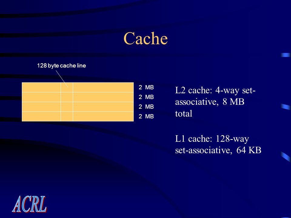 Cache 128 byte cache line 2 MB L2 cache: 4-way set- associative, 8 MB total L1 cache: 128-way set-associative, 64 KB