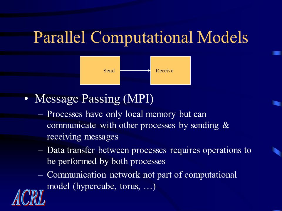 Parallel Computational Models Message Passing (MPI) –Processes have only local memory but can communicate with other processes by sending & receiving messages –Data transfer between processes requires operations to be performed by both processes –Communication network not part of computational model (hypercube, torus, …) SendReceive