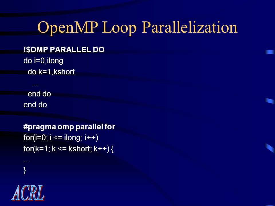 OpenMP Loop Parallelization !$OMP PARALLEL DO do i=0,ilong do k=1,kshort...