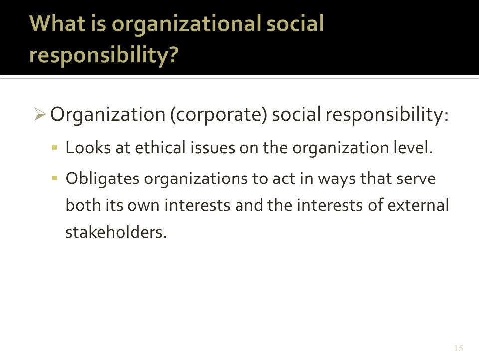  Organization (corporate) social responsibility:  Looks at ethical issues on the organization level.  Obligates organizations to act in ways that s