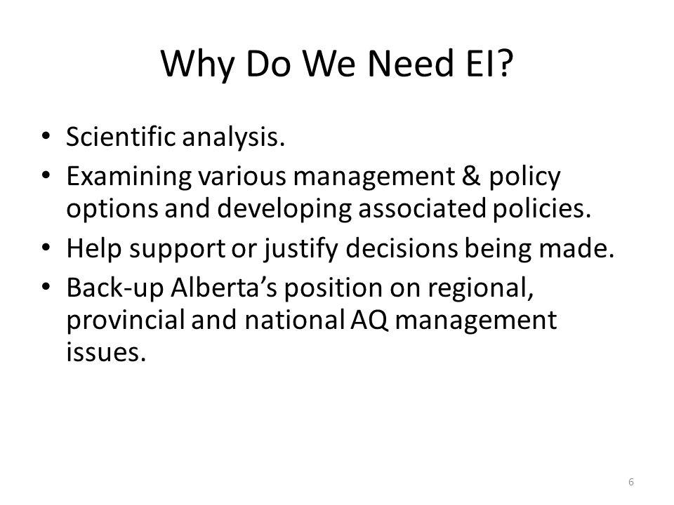 Why Do We Need EI. Scientific analysis.