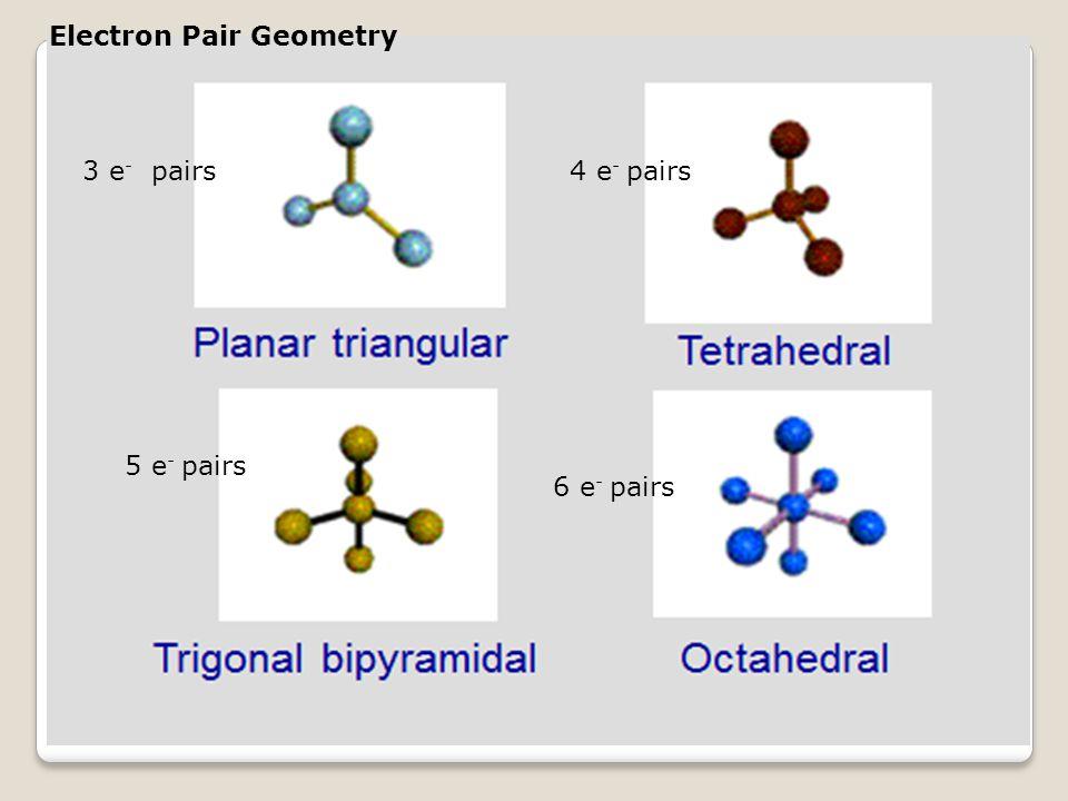 Electron Pair Geometry 3 e - pairs4 e - pairs 5 e - pairs 6 e - pairs