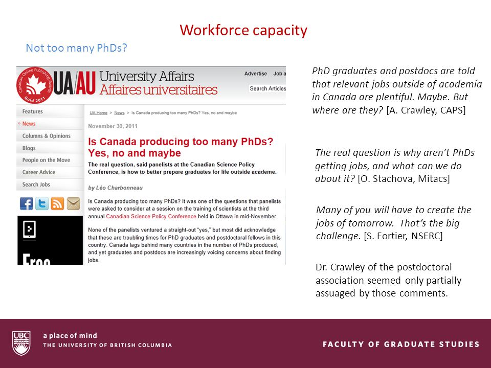 Workforce capacity Not too many PhDs.