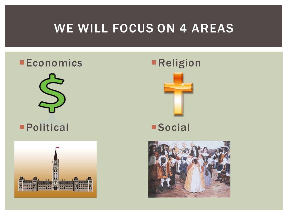  Economics  Political  Religion  Social WE WILL FOCUS ON 4 AREAS