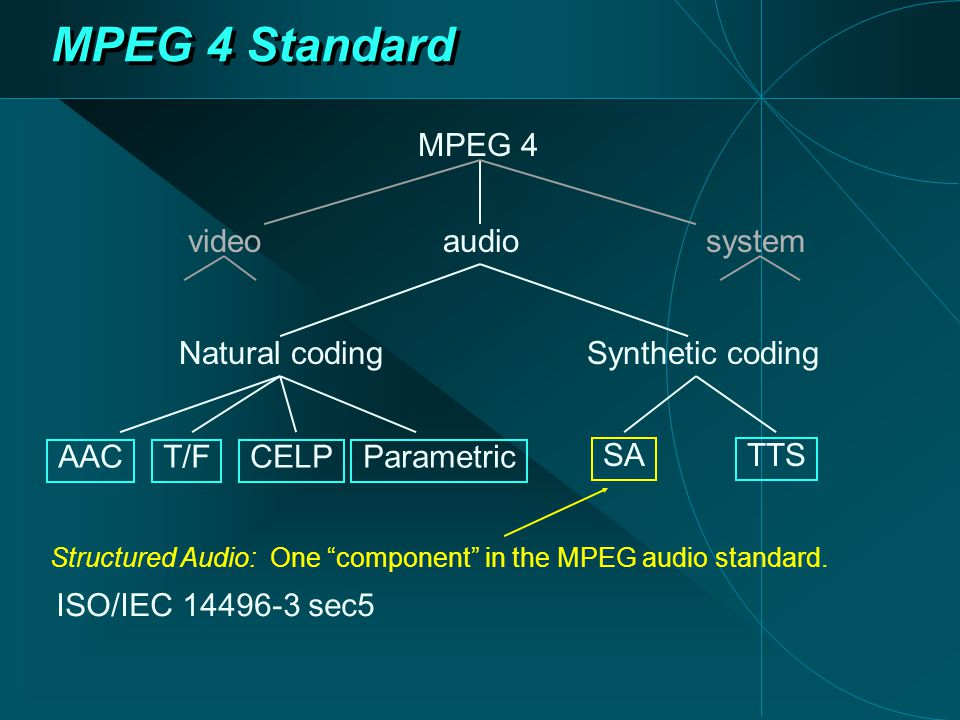 MPEG 4 Standard Structured Audio: One component in the MPEG audio standard.