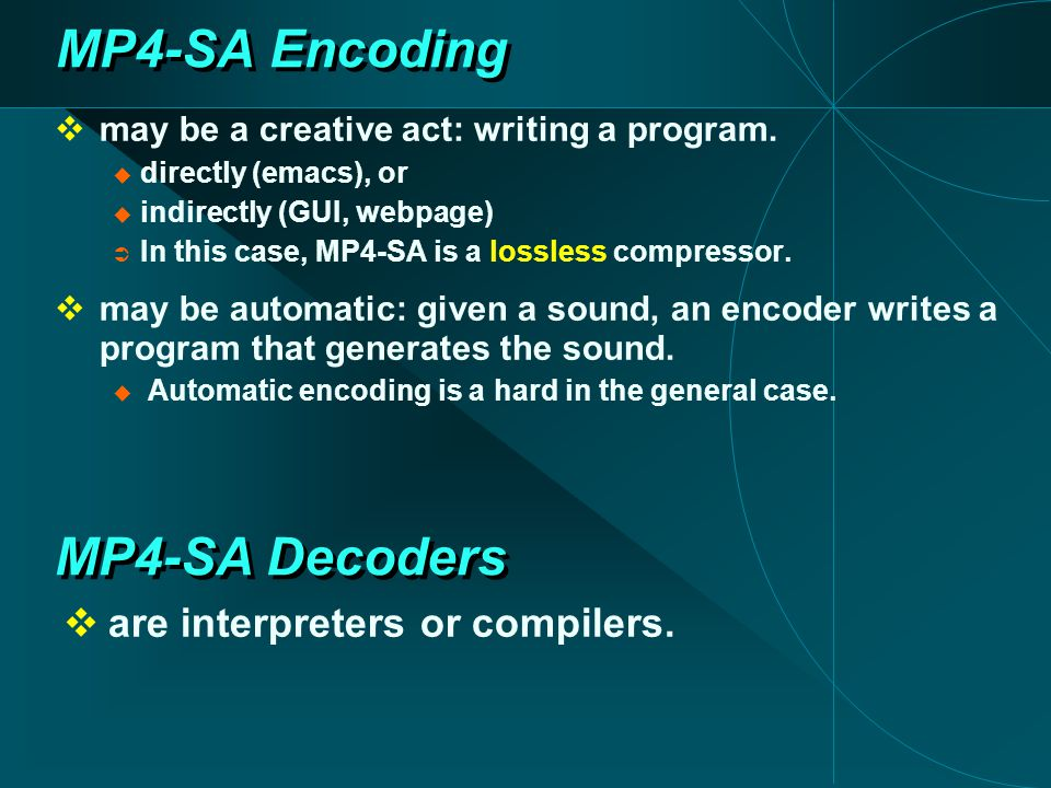 MP4-SA Encoding  may be a creative act: writing a program.