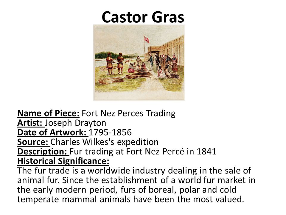 Castor Gras Name of Piece: Fort Nez Perces Trading Artist: Joseph Drayton Date of Artwork: Source: Charles Wilkes s expedition Description: Fur trading at Fort Nez Percé in 1841 Historical Significance: The fur trade is a worldwide industry dealing in the sale of animal fur.