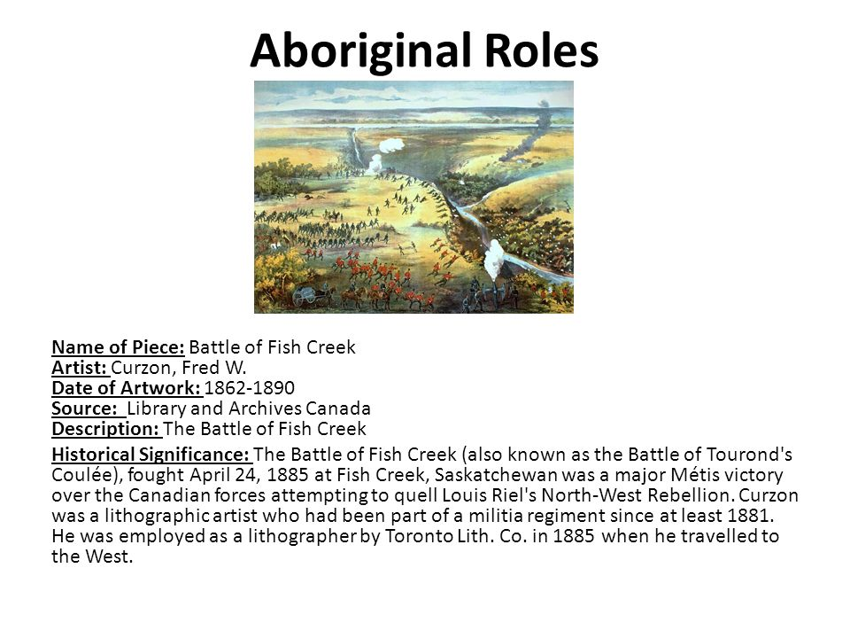 Aboriginal Roles Name of Piece: Battle of Fish Creek Artist: Curzon, Fred W.