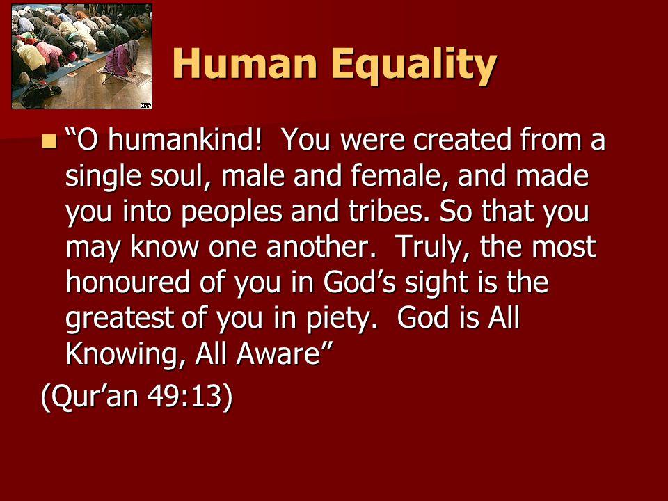 Human Equality O humankind.