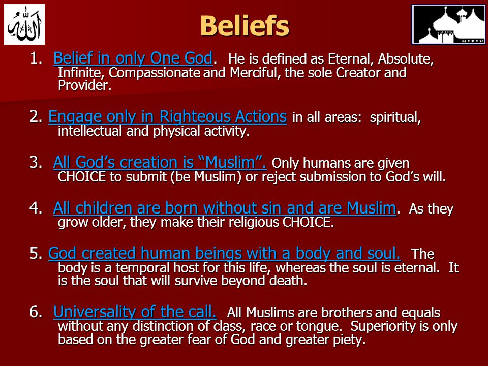 Beliefs 1. Belief in only One God.
