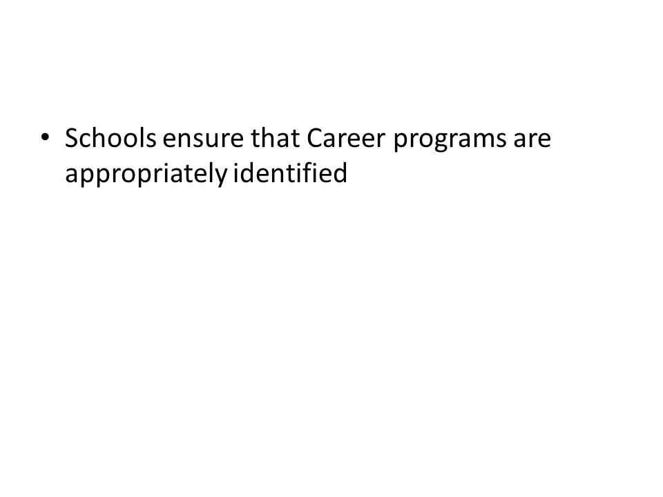 Schools ensure that Career programs are appropriately identified