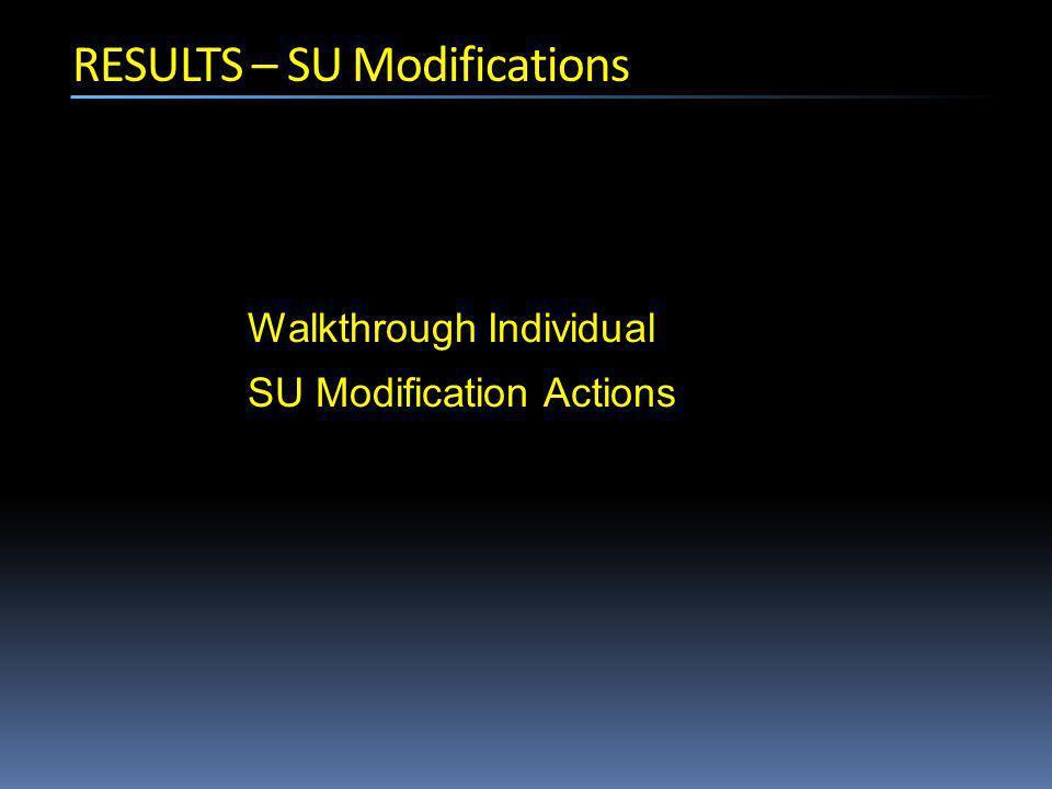 RESULTS – SU Modifications Walkthrough Individual SU Modification Actions