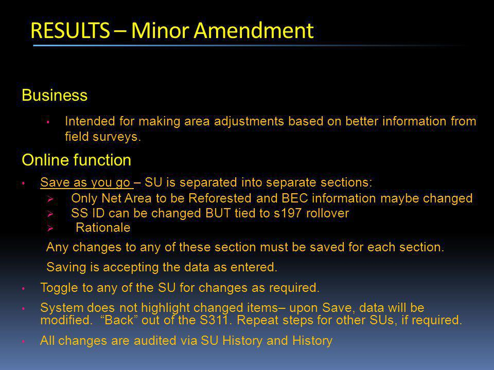 RESULTS – Minor Amendment Business Intended for making area adjustments based on better information from field surveys.