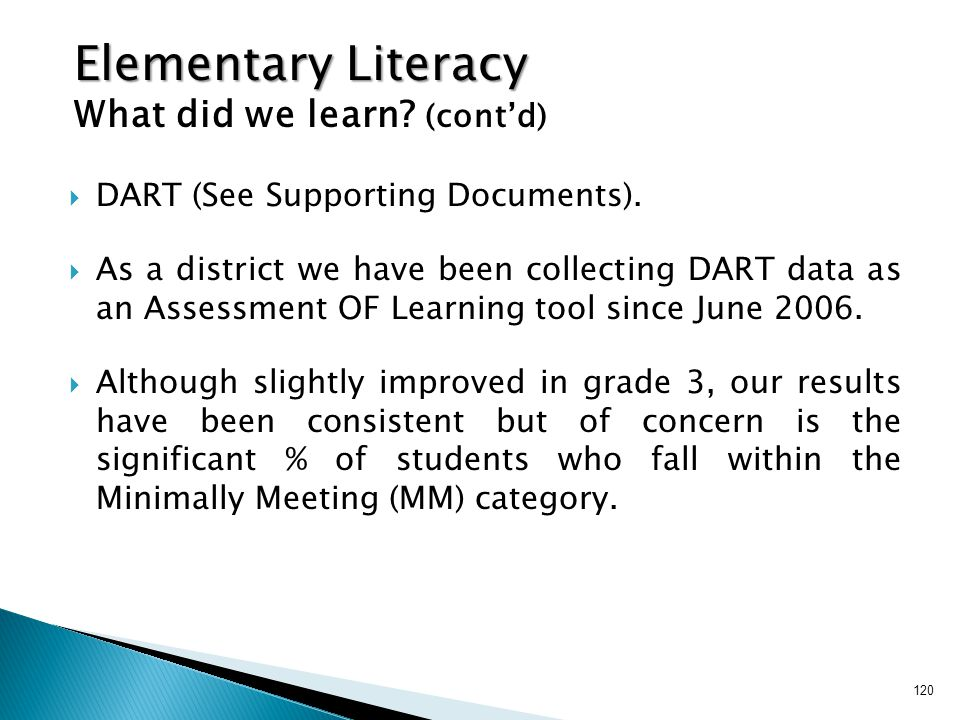120  DART (See Supporting Documents).  As a district we have been collecting DART data as an Assessment OF Learning tool since June 2006.  Although