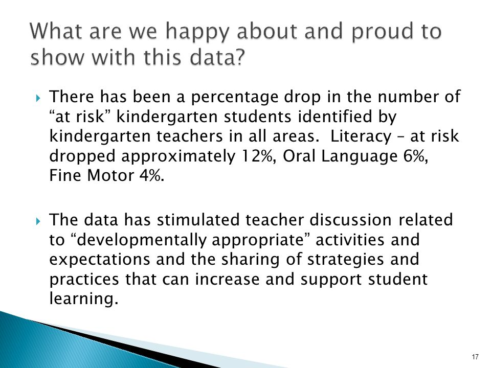 """ There has been a percentage drop in the number of """"at risk"""" kindergarten students identified by kindergarten teachers in all areas. Literacy – at ri"""